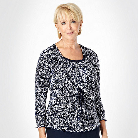 Classics - Navy dotted pleated 2-in-1 top