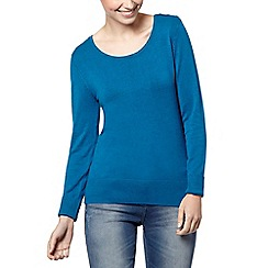 The Collection Petite - Petite bright turquoise button shoulder jumper