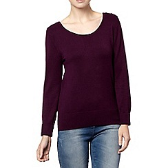 The Collection Petite - Petite plum button shoulder jumper