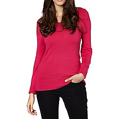 The Collection - Bright pink button shoulder jumper