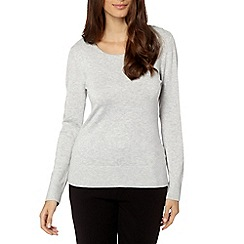 The Collection - Light grey button shoulder jumper