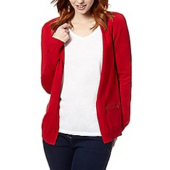 The Collection - Red open zip pocket cardigan