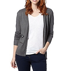 The Collection - Grey open zip pocket cardigan