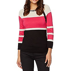 The Collection - Bright pink multi striped button jumper