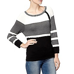 The Collection - Black multi striped button jumper