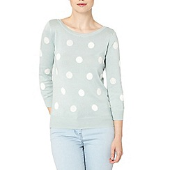 The Collection - Aqua embellished spot jumper