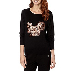 The Collection - Black sequin squirrel jumper
