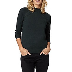 The Collection - Dark green turtle neck zip jumper