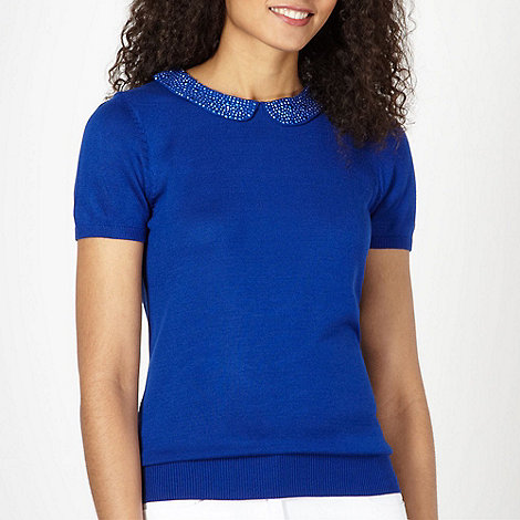 The Collection - Bright blue studded collar jumper