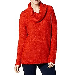 The Collection - Dark orange boucle cowl neck jumper
