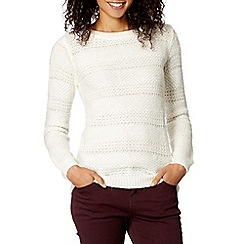 The Collection - Ivory textured stripe knitted jumper