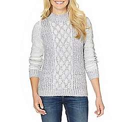 The Collection - Pale grey cable turtle neck jumper