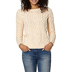The Collection - Pale pink jewelled cable knit jumper