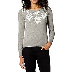 The Collection - Light grey snowflake Christmas jumper