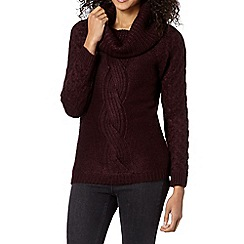 The Collection - Wine cable knit shawl jumper