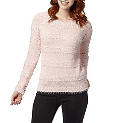The Collection - Pale pink striped eyelash knit jumper