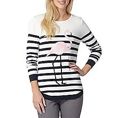 The Collection - Ivory striped flamingo jumper