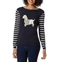 The Collection - Navy dog knitted jumper