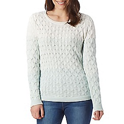 The Collection - Pale green ombre cable knit jumper