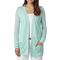 The Collection - Aqua ribbed edge to edge cardigan