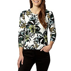 The Collection - Ivory floral print button through cardigan
