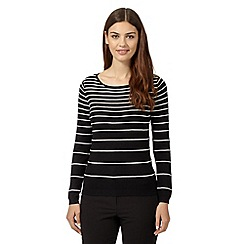 The Collection Petite - Black striped ribbed jumper