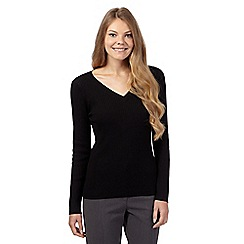 The Collection - Black ribbed V neck jumper