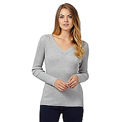 The Collection - Grey ribbed jumper
