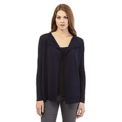 The Collection - Navy ribbed drape short cardigan