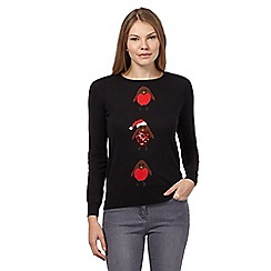 The Collection Petite - Black Christmas robins jumper