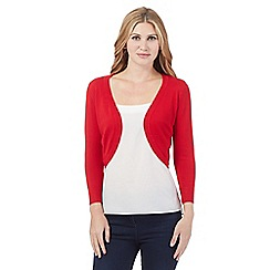 The Collection - Red three quarter length sleeve shrug