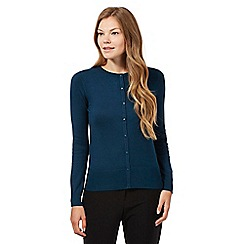 The Collection Petite - Dark turquoise plain crew neck cardigan