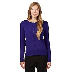 The Collection - Purple plain crew neck cardigan