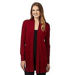 The Collection - Dark red ribbed edge to edge cardigan