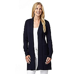 The Collection - Navy ribbed edge to edge cardigan