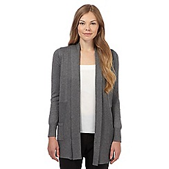 The Collection - Grey ribbed long cardigan
