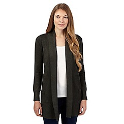 The Collection - Khaki ribbed edge to edge cardigan
