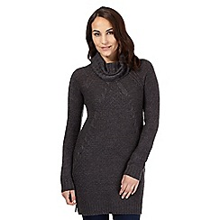 The Collection - Grey cable knit cowl neck tunic jumper