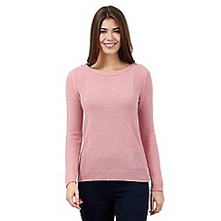 The Collection - Pale pink lambswool moss stitch jumper