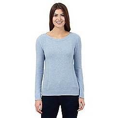The Collection - Pale blue lambswool moss stitch jumper