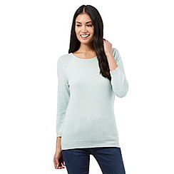 The Collection - Pale green pointelle stitch jumper
