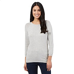 The Collection - Grey pointelle stitch jumper