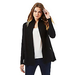 The Collection Petite - Black shawl collar zip cardigan