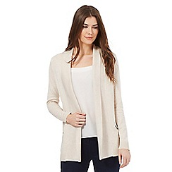 The Collection - Beige shawl collar zip detail cardigan