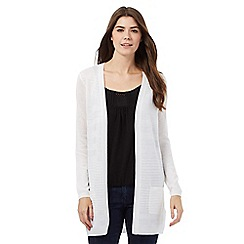 The Collection - White variegated rib open cardigan