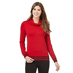 The Collection - Red striped trim cowl neck jumper