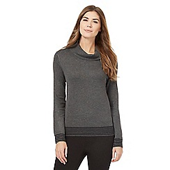 The Collection - Grey striped trim cowl neck jumper