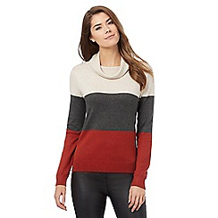 The Collection - Multi-coloured block panel cowl neck jumper