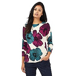 The Collection - Beige three quarter length sleeve tulip print jumper