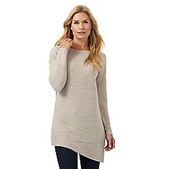 The Collection - Beige ribbed asymmetric tunic